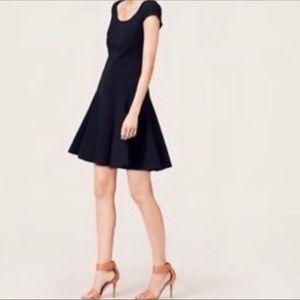 Ann Taylor Loft Fit n Flare Flounce Dress Navy